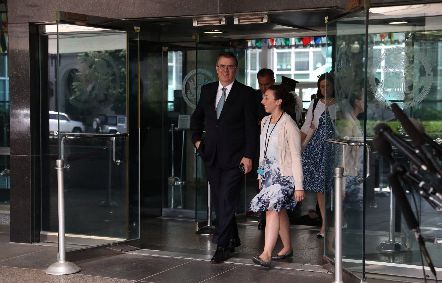 Mexico's Foreign Minister Marcelo Ebrard exits the U.S. State Department to speak to reporters after a meeting between U.S. and Mexican officials on immigration and trade in Washington, U.S., June 6, 2019. REUTERS/Leah Millis
