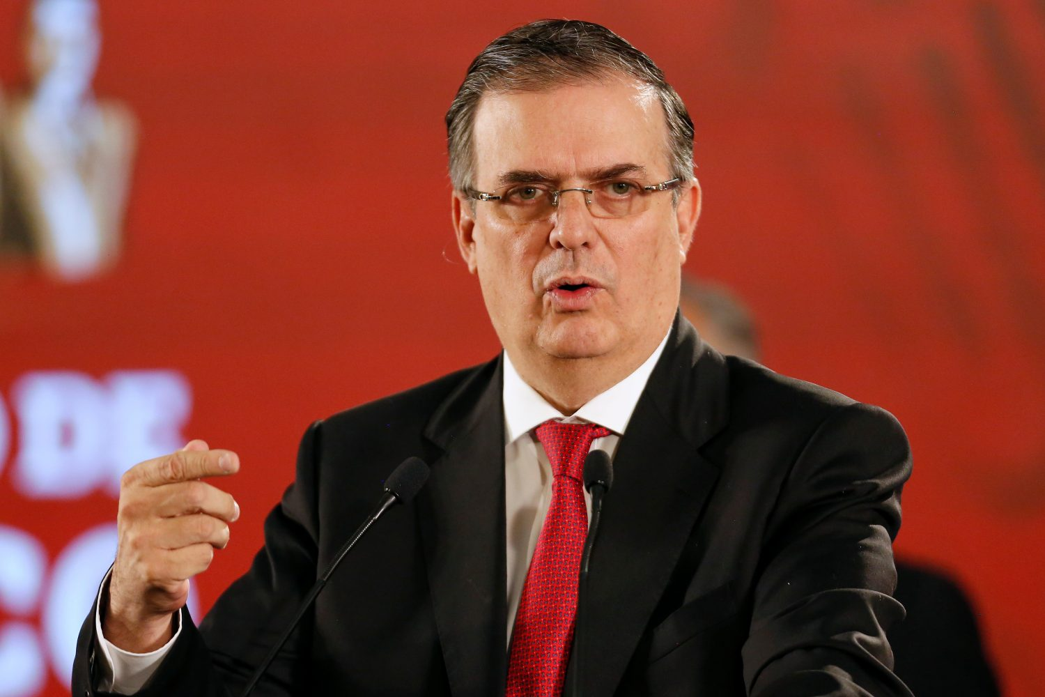FILE PHOTO: Mexico's Foreign Minister Marcelo Ebrard speaks during a news conference at the National Palace in Mexico City, Mexico June 10, 2019. REUTERS/Gustavo Graf