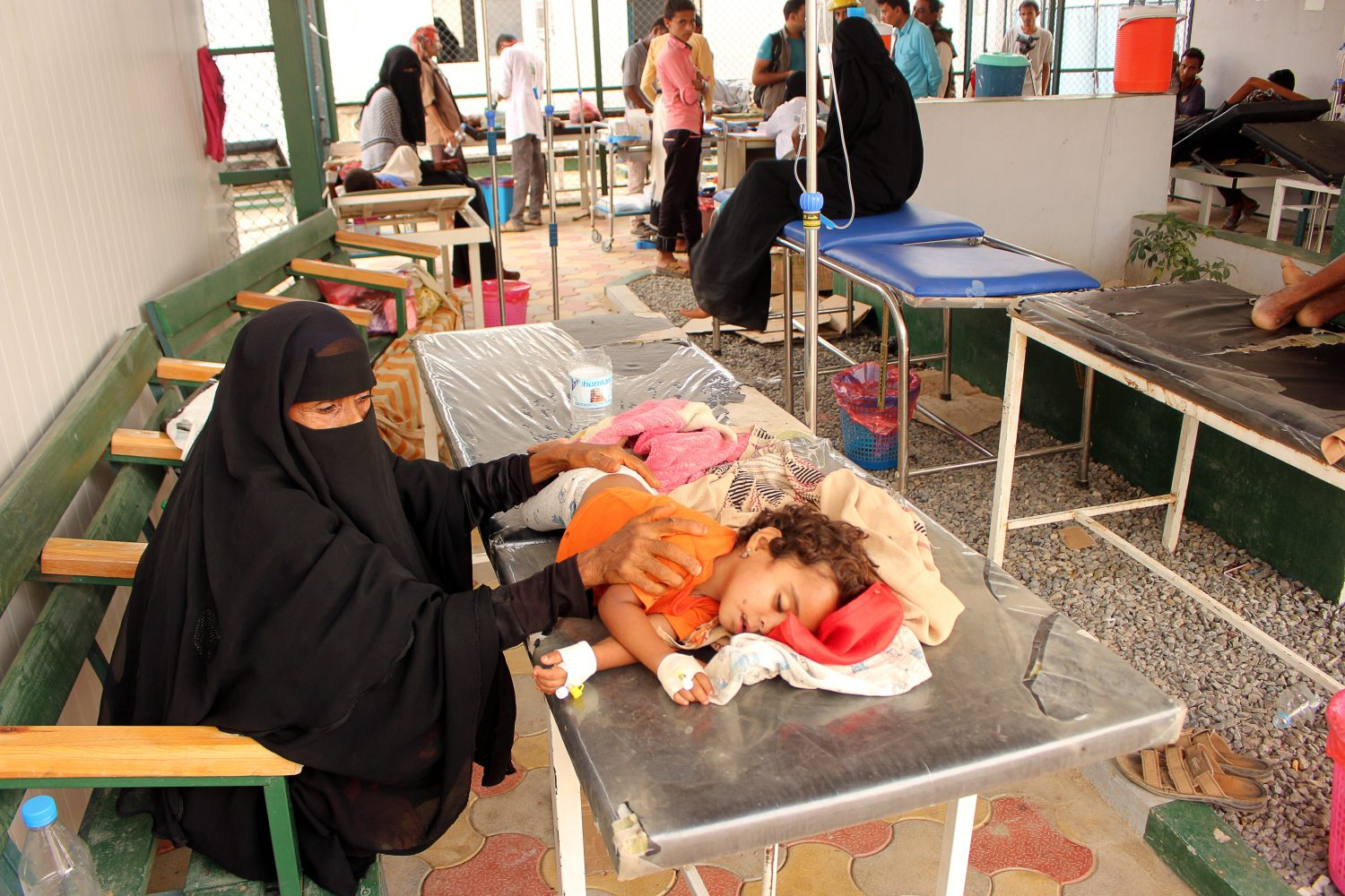 A girl, cholera patient, lies on a bed as she receives medical care at a health center in the village of Islim, in the northwestern province of Hajjah, Yemen June 4, 2019. REUTERS/Eissa Alrage