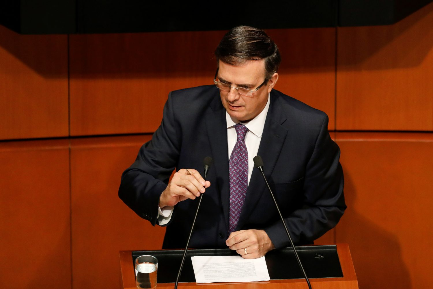FILE PHOTO - Mexico's Foreign Minister Marcelo Ebrard speaks during a session with senators and lawmakers at the Senate building in Mexico City, Mexico June 14, 2019. REUTERS/Carlos Jasso
