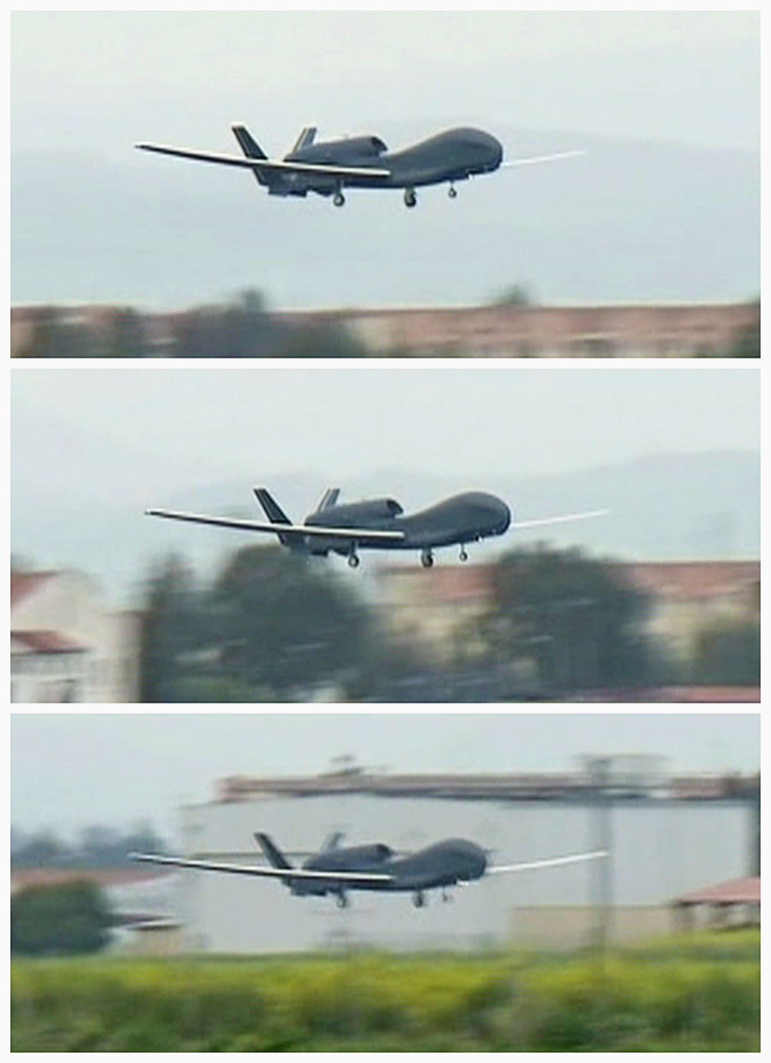 FILE PHOTO: This combination photo shows a U.S. military Global Hawk drone taking off from Sigonella NATO Airbase in the southern Italian island of Sicily March 20, 2011, in this still image taken from video. REUTERS/REUTERS TV/File Photo