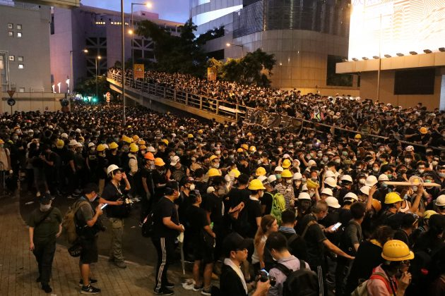 Protesters gather outside police headquarters in Hong Kong, China June 21, 2019. REUTERS/Ann Wang