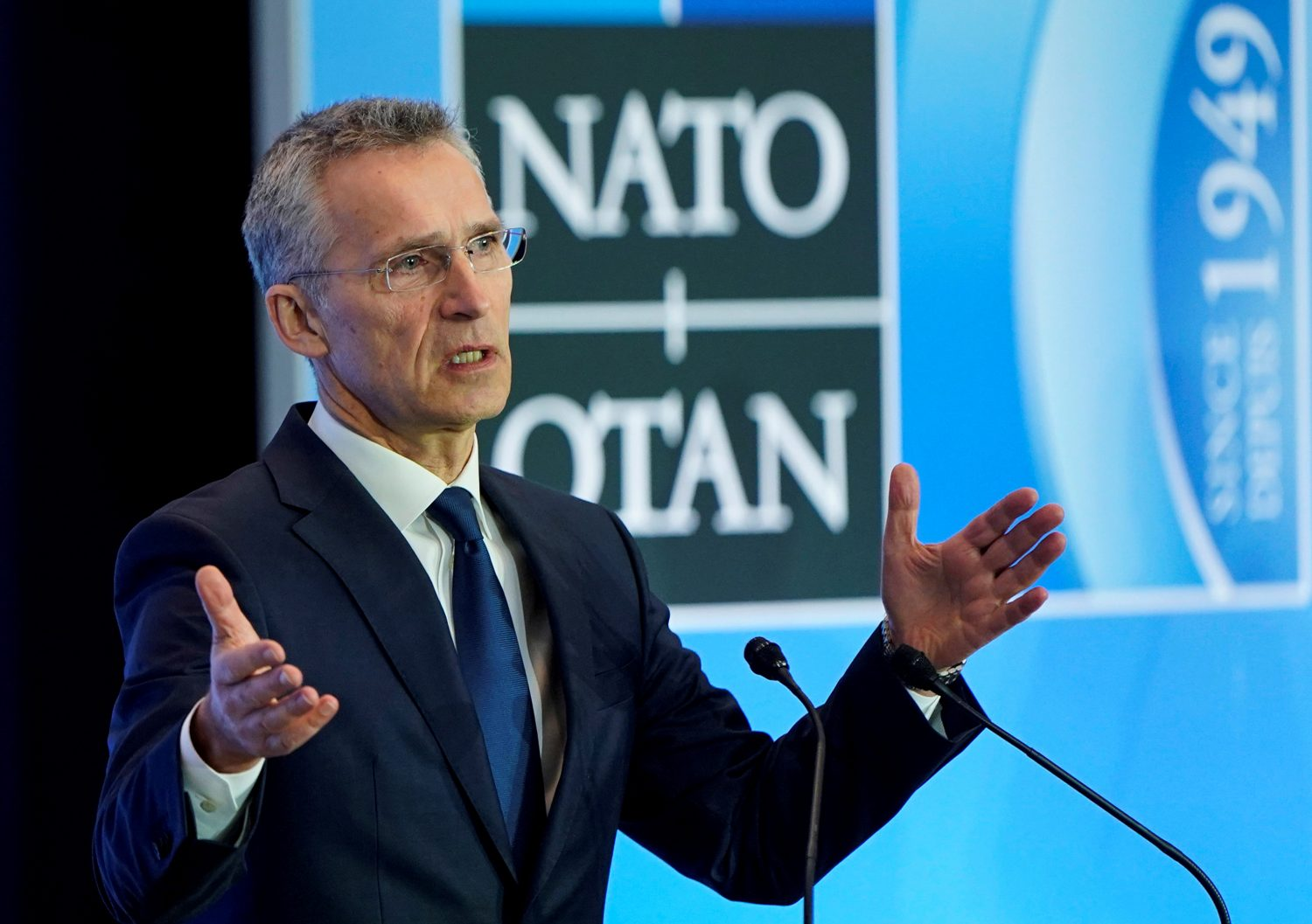 FILE PHOTO: NATO Secretary General Jens Stoltenberg speaks to the media during the NATO Foreign Minister's Meeting at the State Department in Washington, U.S., April 4, 2019. REUTERS/Joshua Roberts/File Photo