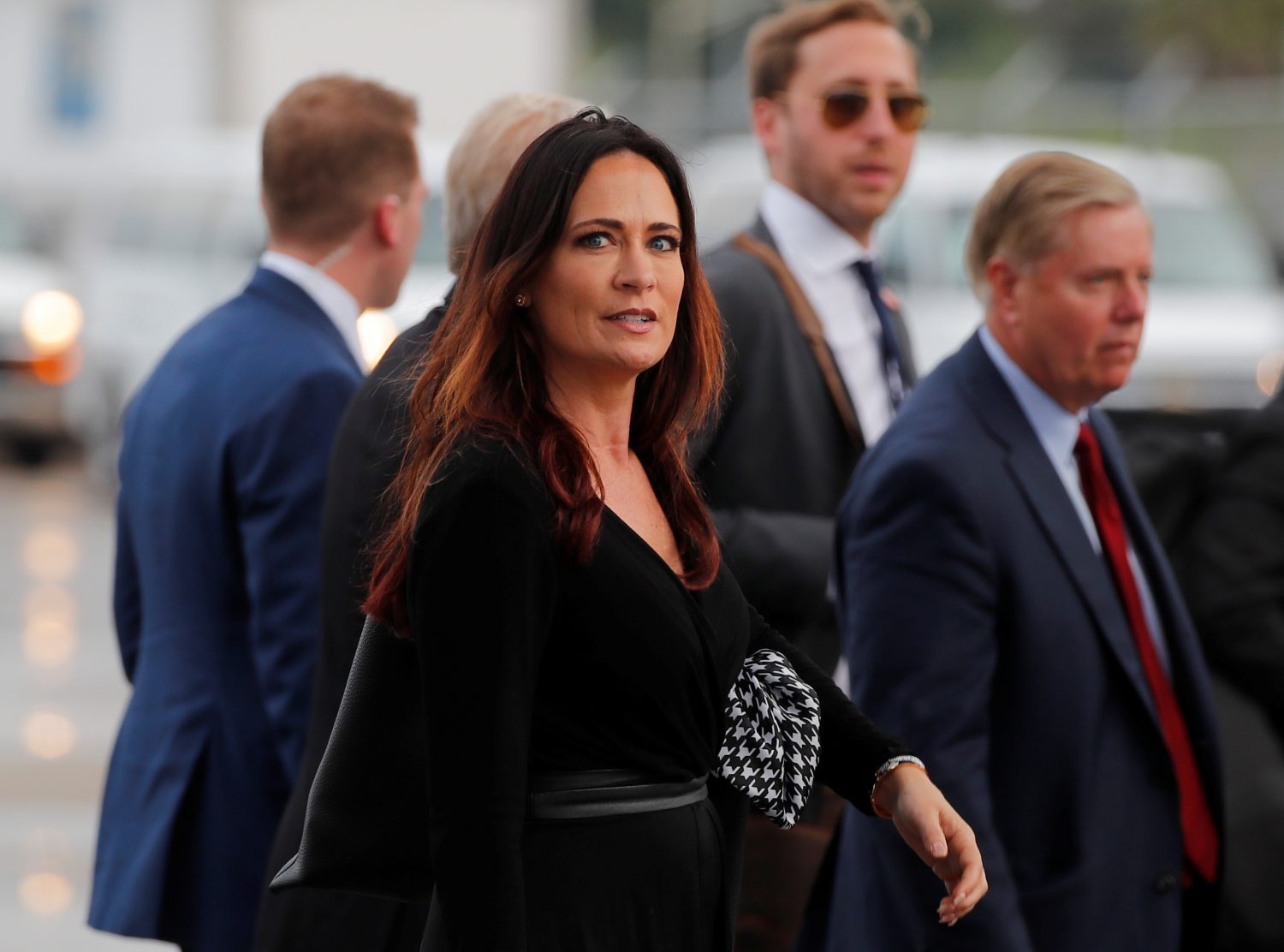 Stephanie Grisham, spokesperson for first lady Melania Trump, arrives for a campaign rally with U.S. President Donald Trump in Orlando, Florida, U.S., June 18, 2019. REUTERS/Carlos Barria