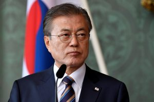 FILE PHOTO: South Korea's President Moon Jae-in attends a press meeting at the Royal Palace in Stockholm, Sweden June 14, 2019. Henrik Montgomery/TT News Agency/via REUTERS