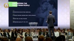 "White House senior adviser Jared Kushner gives a speech at the opening of the ""Peace to Prosperity"" conference in Manama, Bahrain, June 25, 2019 in this still image taken from a video. Peace And Prosperity conference pool/Reuters TV via REUTERS"