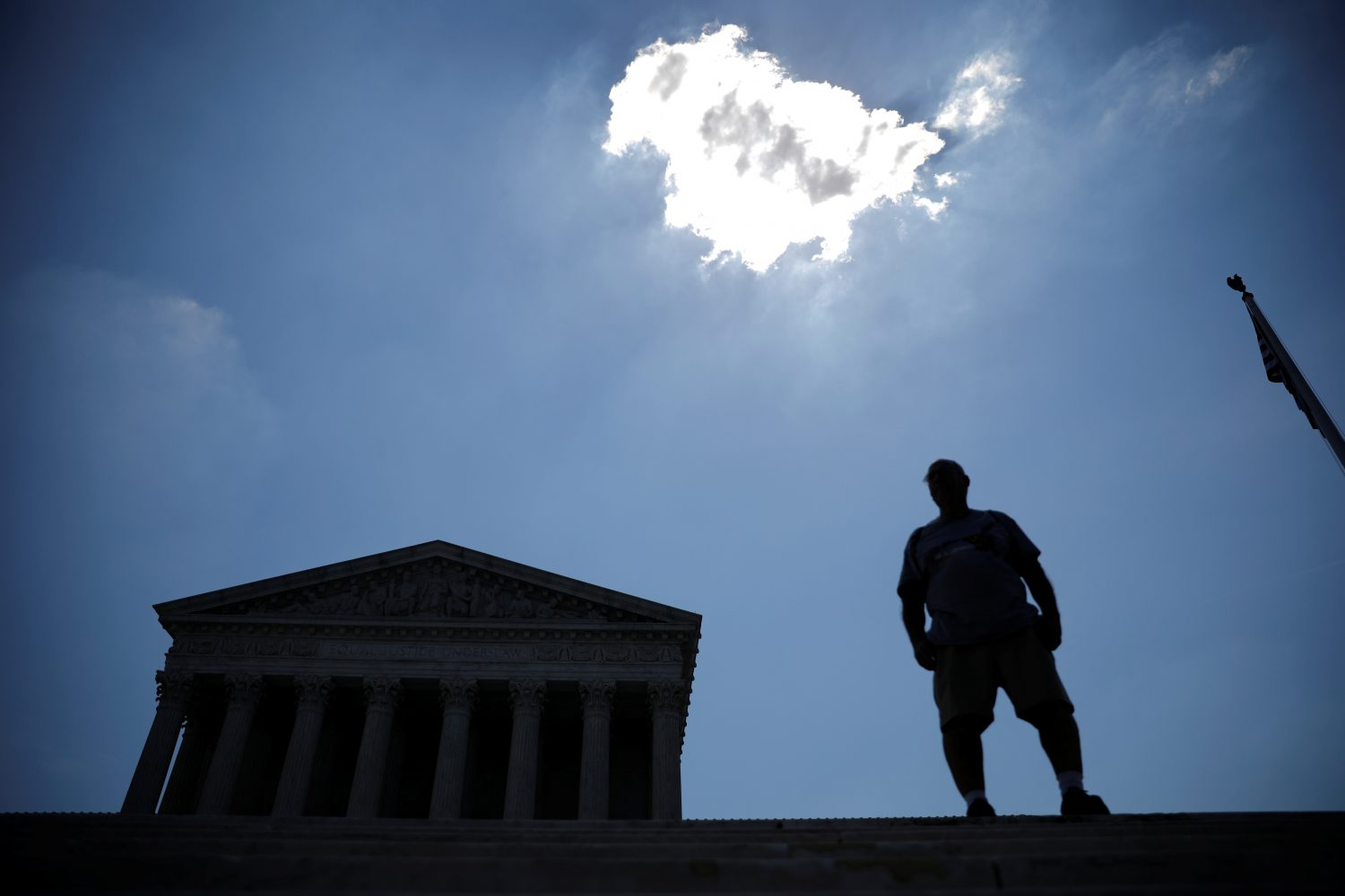 A man stands outside the U.S. Supreme Court in Washington, U.S., June 27, 2019. REUTERS/Carlos Barria