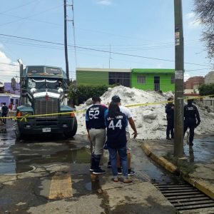 Ice is seen on a street after a heavy storm of rain and hail in Guadalajara, Mexico June 30, 2019, in this picture obtained from social media. Picture taken June 30, 2019. Jorge David Arias Flores/via REUTERS