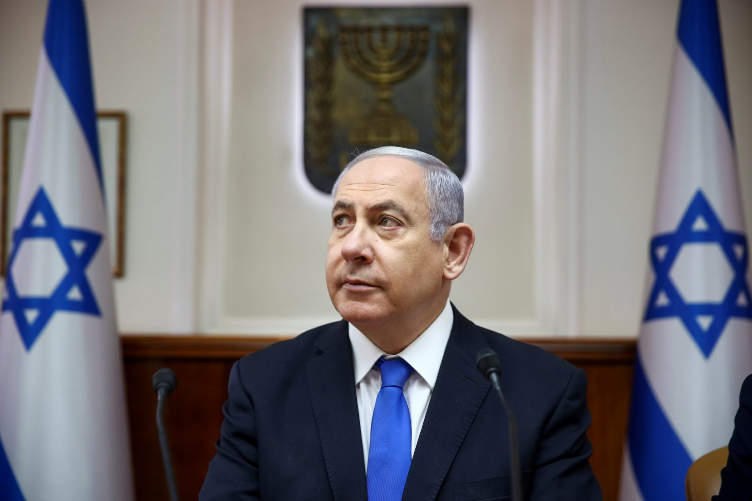 FILE PHOTO: Israeli Prime Minister Benjamin Netanyahu attends the weekly cabinet meeting in Jerusalem, June 30, 2019. Oded Balilty/Pool via REUTERS/File Photo