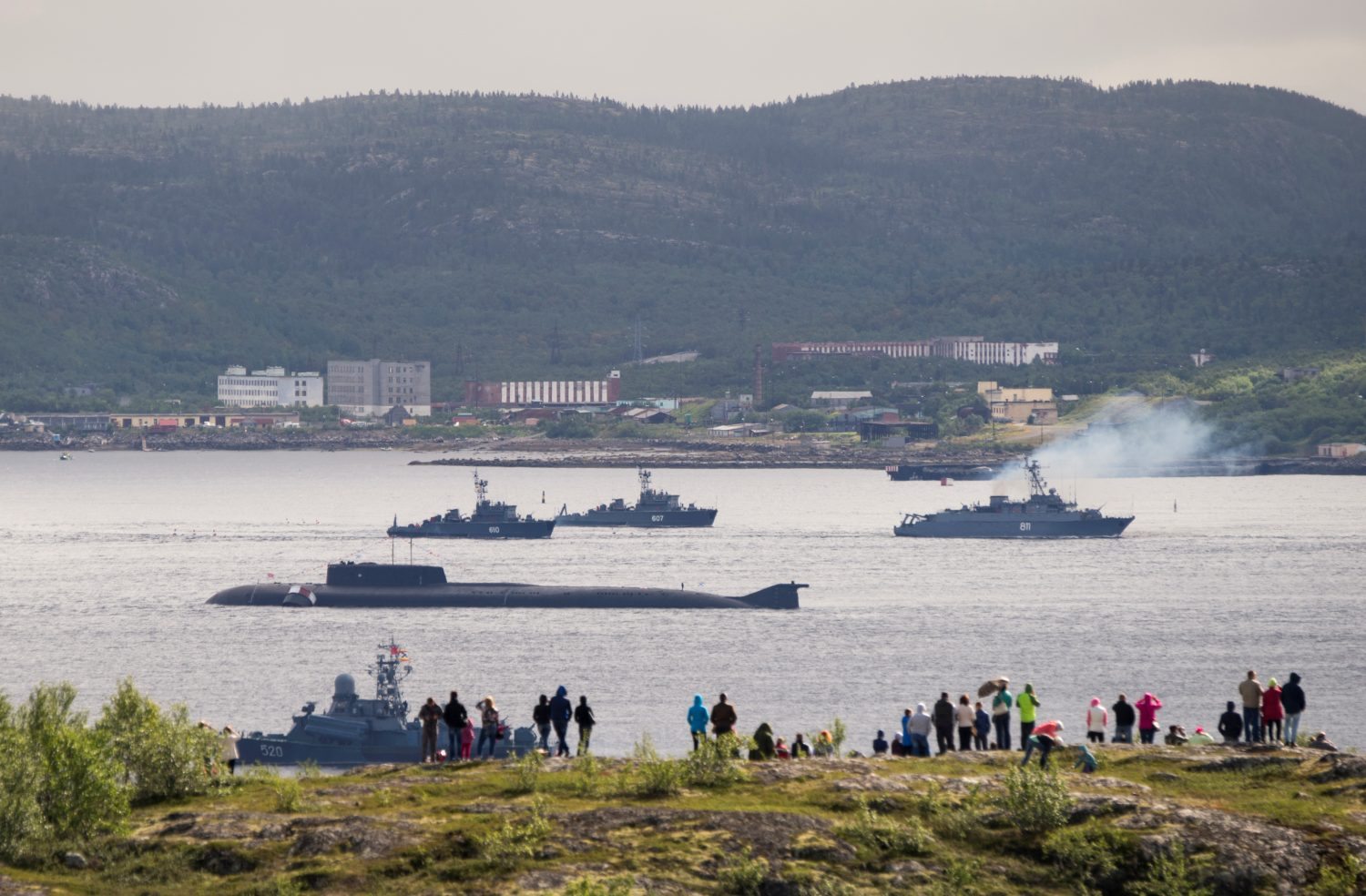 Russian navy ships and a submarine take part in a naval parade at the port of Severomorsk, Russia July 31, 2016. Picture taken July 31, 2016. REUTERS/Stringer