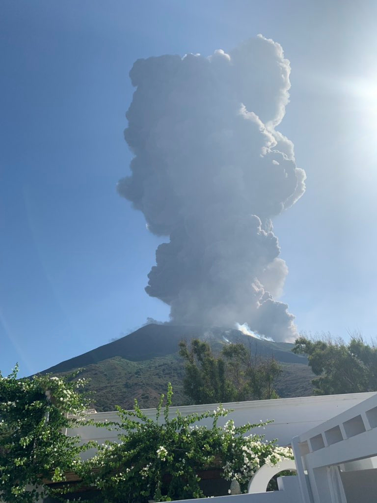 Ash rises after a volcano eruption in Stromboli, Italy, July 3, 2019 in this image obtained from social media. Gernot Werner Gruber via REUTERS