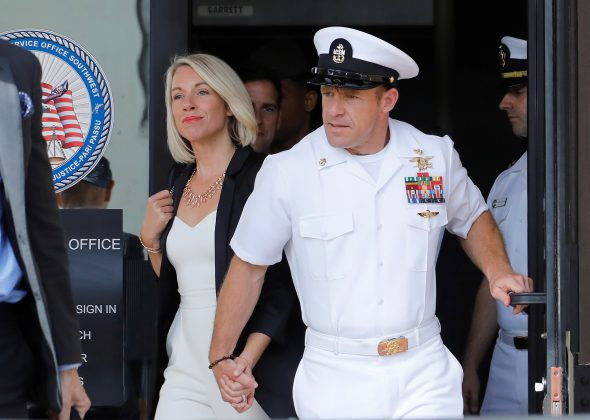 U.S. Navy SEAL Special Operations Chief Edward Gallagher (R), with wife Andrea Gallagher, leaves court after being acquitted of most of the serious charges against him during his court-martial trial at Naval Base San Diego in San Diego, California , U.S., July 2, 2019. REUTERS/John Gastaldo