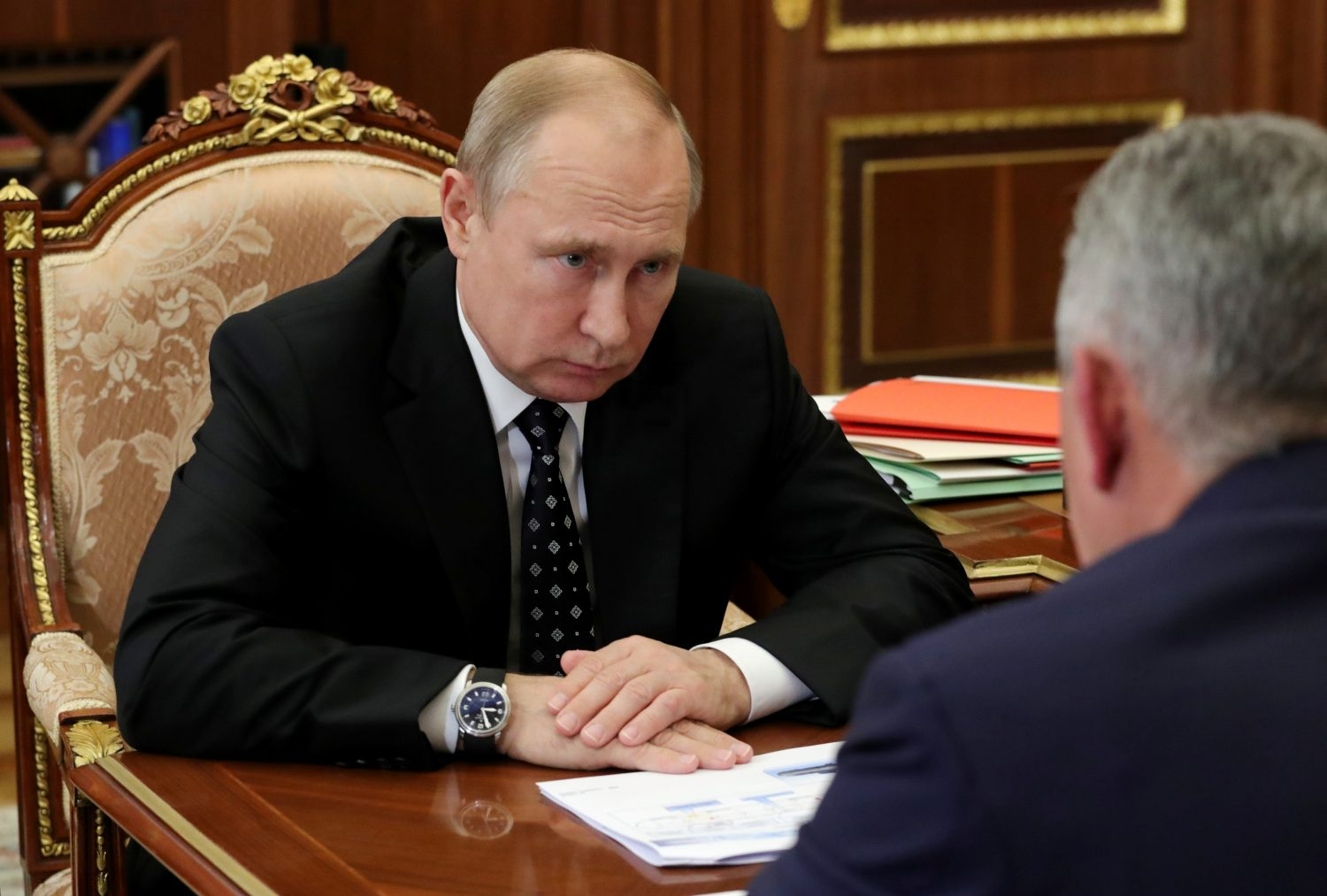 Russia's President Vladimir Putin meets with Defence Minister Sergei Shoigu to discuss a recent incident with a Russian deep-sea submersible, which caught fire in the area of the Barents Sea, in Moscow, Russia July 4, 2019. Sputnik/Mikhail Klimentyev/Kremlin via REUTERS