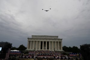 "U.S. Air Force does a fly past as U.S. President Donald Trump speaks at the ""Salute to America"" event at the Lincoln Memorial during Fourth of July Independence Day celebrations in Washington, D.C., U.S., July 4, 2019. REUTERS/Joshua Roberts"