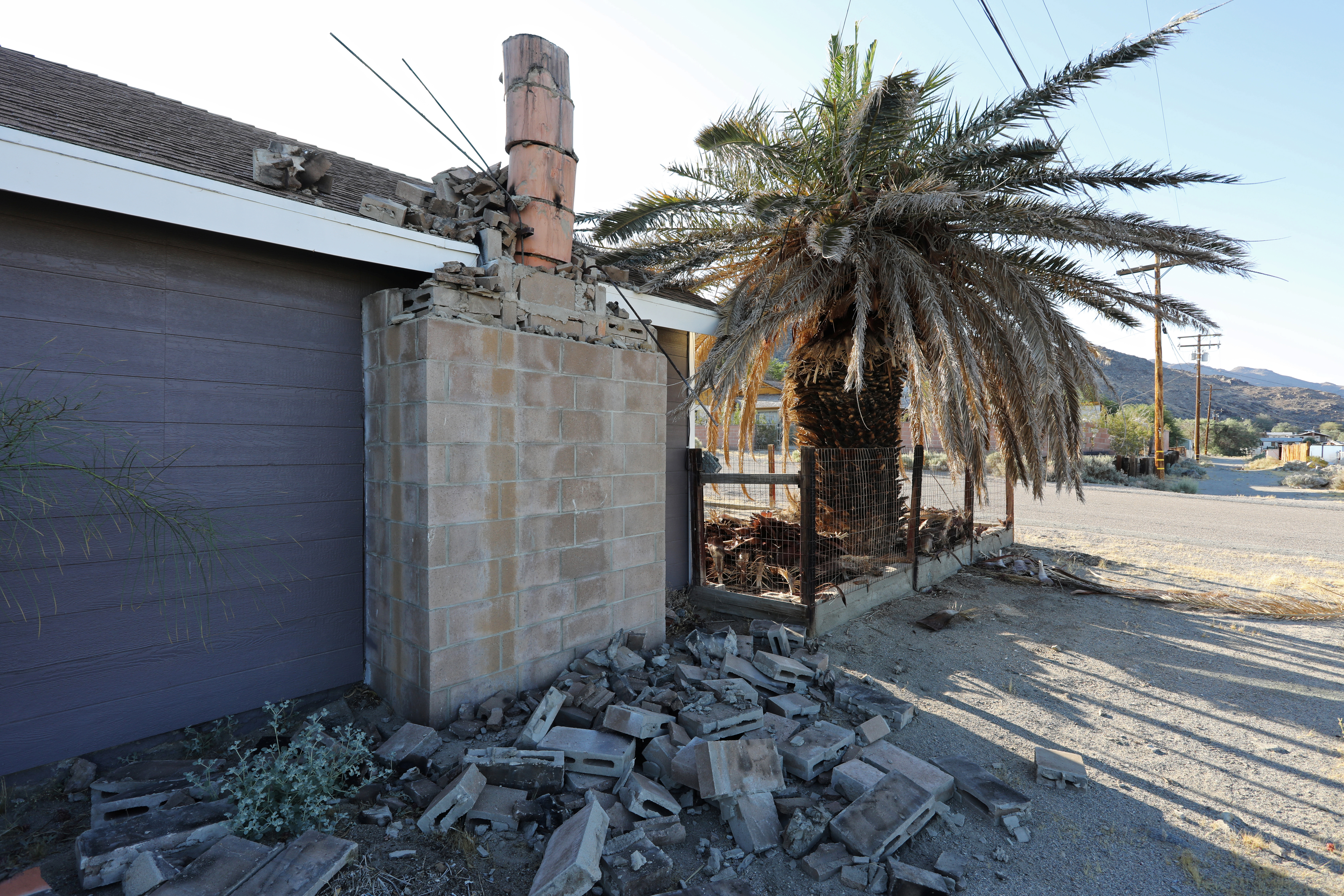 A house is seen damaged from a powerful earthquake that struck Southern California, near the epicenter, northeast the city of Ridgecrest, California, U.S., July 4, 2019. REUTERS/David McNew