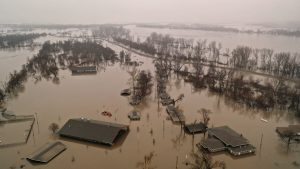 FILE PHOTO: A flooded parcel of land along the Platte River is pictured in this aerial photograph at La Platte, south of Omaha, Nebraska, U.S. March 19, 2019. REUTERS/Drone Base/File Photo