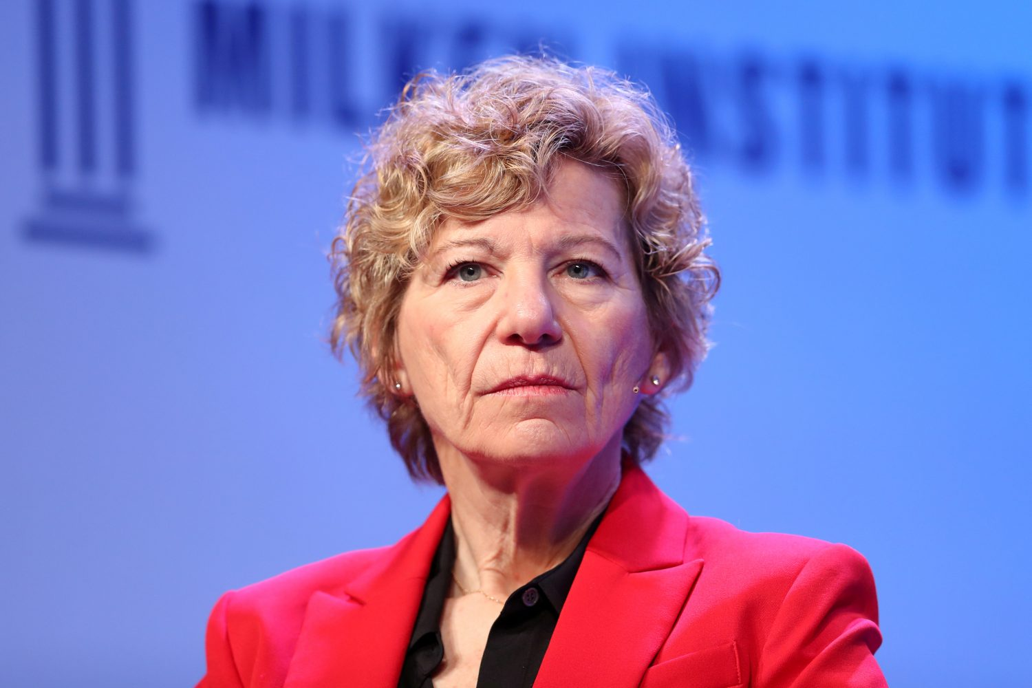 FILE PHOTO: Susan Desmond-Hellmann, CEO of Bill & Melinda Gates Foundation, speaks at the 2019 Milken Institute Global Conference in Beverly Hills, California, U.S., April 29, 2019. REUTERS/Lucy Nicholson/File Photo