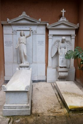 Tombs in a cemetery on the Vatican's grounds are seen before being opened to test the DNA of bones to help solve the 36-year-old disappearance of a teenage daughter of a clerk in the Holy See, in the Vatican July 11, 2019. Vatican Media/Handout via REUTERS ATTENTION EDITORS - THIS IMAGE WAS PROVIDED BY A THIRD PARTY.