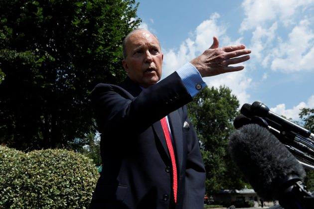 FILE PHOTO: White House chief economic advisor Larry Kudlow speaks with reporters on the driveway outside the West Wing of the White House in Washington, U.S. June 27, 2019. REUTERS/Yuri Gripas