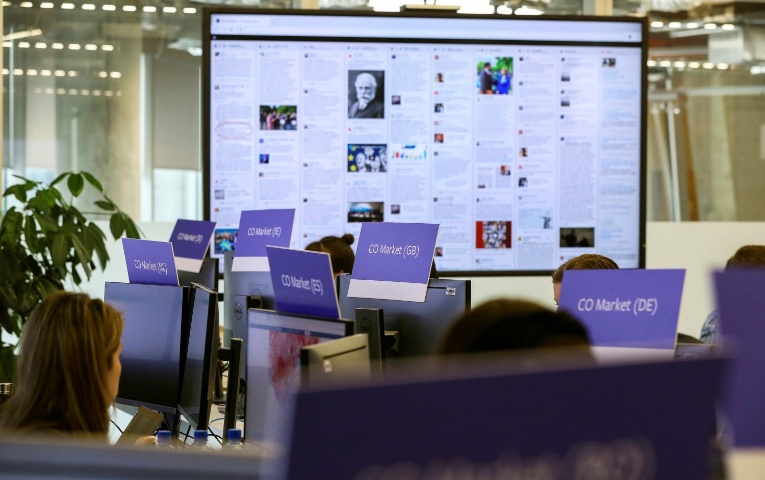 FILE PHOTO: A general view of Facebook's elections operation centre in Dublin, Ireland May 2, 2019. REUTERS/Lorraine O'Sullivan/File Photo