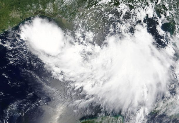 Tropical Storm Barry is shown in the Gulf of Mexico approaching the coast of Louisiana, U.S. in this July 11, 2019 NASA satellite handout photo. NASA/Handout via REUTERS