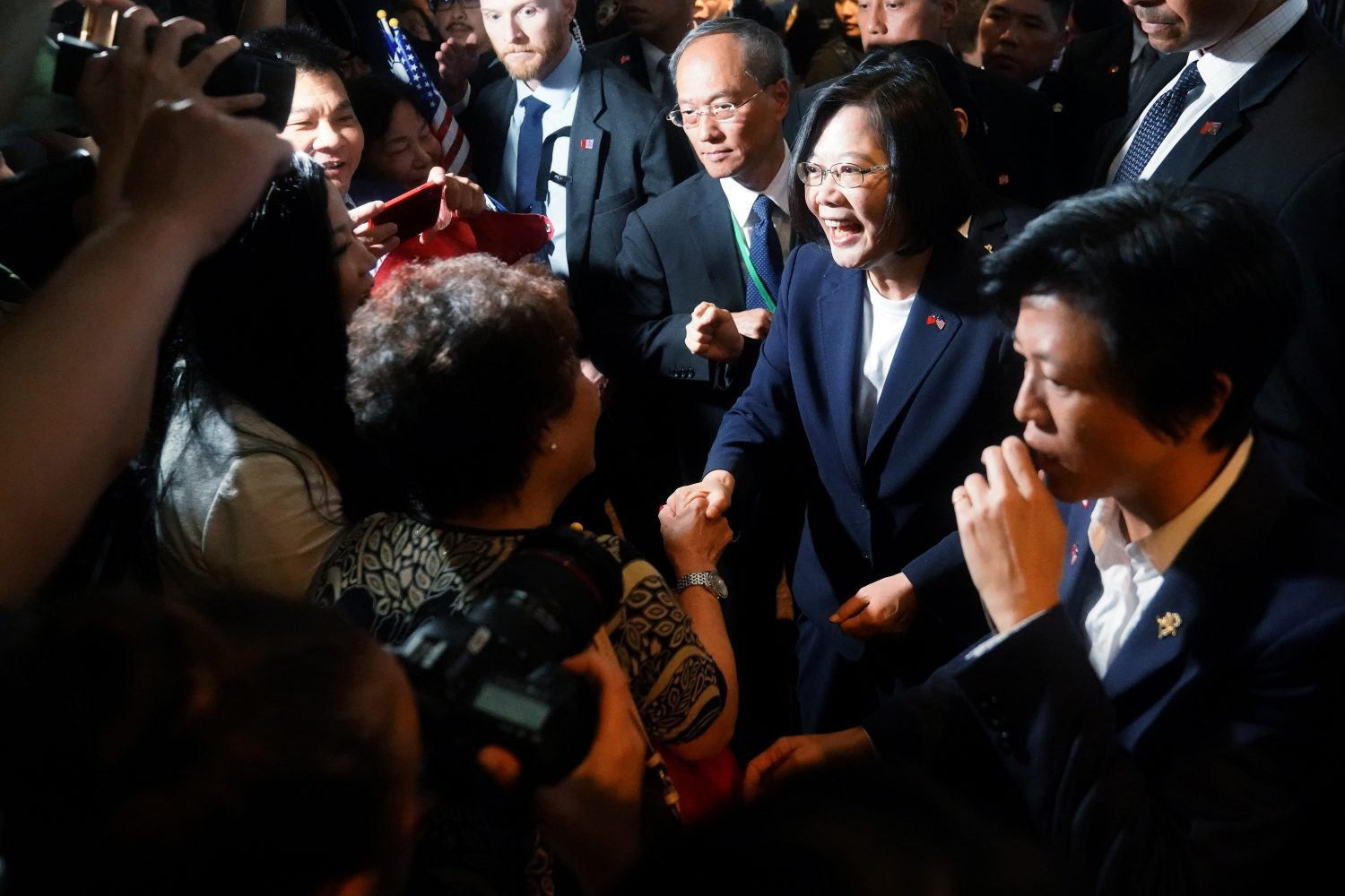 Taiwan's President Tsai Ing-wen arrives at the hotel where she is supposed to stay during her visit in the Manhattan borough of New York, New York, U.S., July 11, 2019. REUTERS/Carlo Allegri