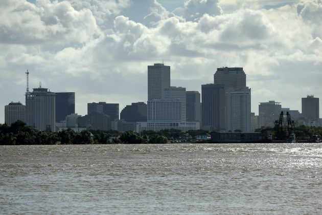A view of downtown New Orleans pictured with the Mississippi River as Tropical Storm Barry approaches land in New Orleans, Louisiana, U.S. July 11, 2019. REUTERS/Jonathan Bachman