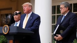 U.S. President Donald Trump stands with Commerce Secretary Wilbur Ross and Attorney General Bill Barr to announce his administration's effort to add a citizenship question to the 2020 census during an event in the Rose Garden of the White House in Washington, U.S., July 11, 2019. REUTERS/Carlos Barria