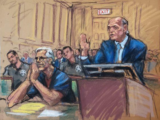 Jeffrey Epstein (L) looks on as lawyer Martin Weinberg speaks during a a bail hearing in U.S. financier Jeffrey Epstein's sex trafficking case, in this court sketch in New York, U.S., July 15, 2019. REUTERS/Jane Rosenberg