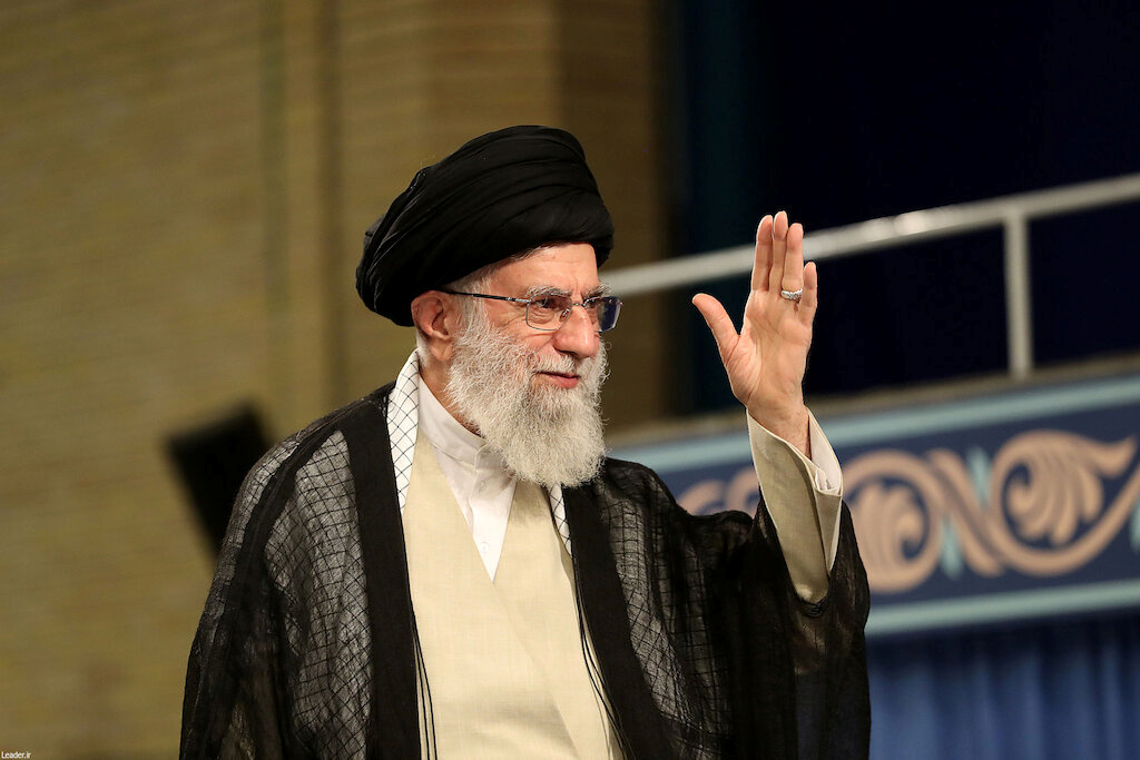 Iran's Supreme Leader Ayatollah Ali Khamenei waves during ceremony attended by Iranian clerics in Tehran, Iran, July 16, 2019. Official Khamenei website/Handout via REUTERS
