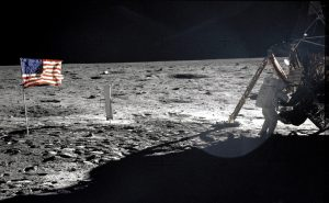 """U.S. astronaut Neil Armstrong, the Apollo 11 Mission Commander, standing next to the Lunar Module """"Eagle"""" on the moon July 20, 1969. REUTERS/Buzz Aldrin-NASA/Handout"""