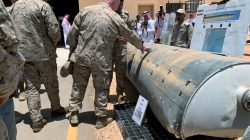 Saudi-led coalition officials show to U.S. Central Command chief General Kenneth McKenzie an exibit of weapons and missiles that is used by Houthi attacks against Saudi Arabia, in Riyadh, Saudi Arabia, July 18, 2019. REUTERS/Marwa Rashad
