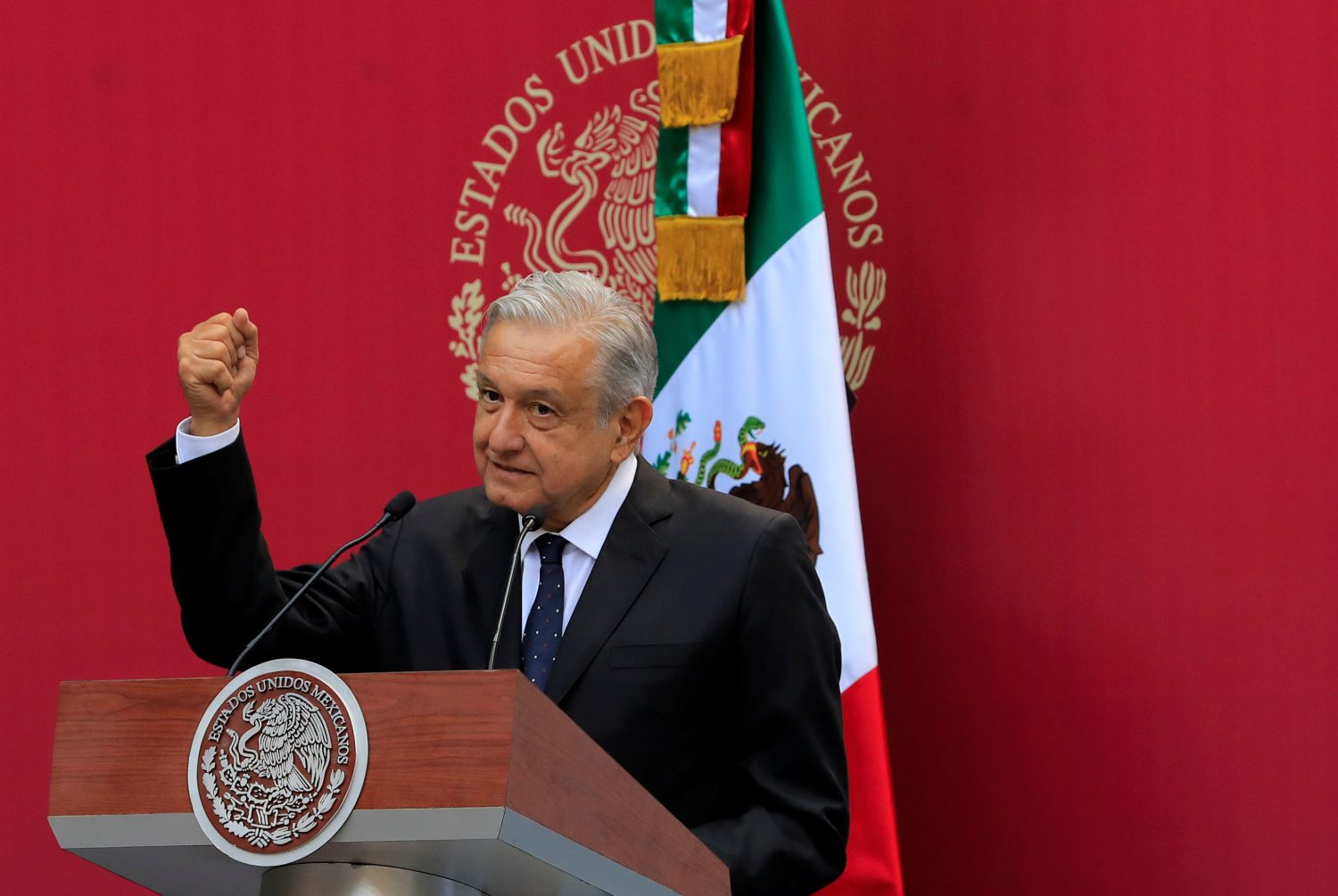 FILE PHOTO: Mexico's President Andres Manuel Lopez Obrador gestures during a meeting with the Mexican delegation competing at the Pan American Games Lima 2019, in Mexico City, Mexico, July 15, 2019. REUTERS/Carlos Jasso