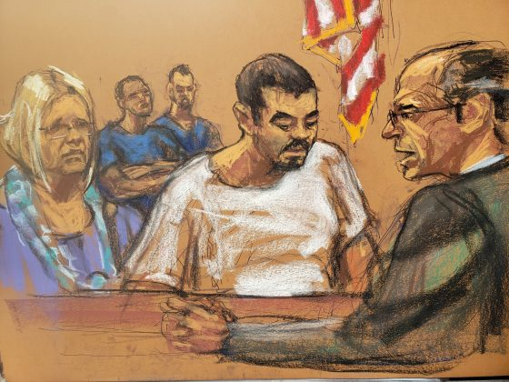 Ruslan Maratovich Asainov, a 42-year-old naturalized U.S. citizen originally from Kazakhstan, appears in this courtroom sketch alongside Attorney Susan Kellman before United States Magistrate Judge Steven M. Gold at the United States Courthouse after he was was charged with providing material support to the Islamic State, in New York City, U.S. July 19, 2019. REUTERS/Jane Rosenberg NO RESALES. NO ARCHIVES.