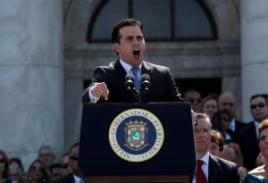 FILE PHOTO: Puerto Rico's new governor Ricardo Rossello addresses the audience during his swear-in ceremony outside the Capitol in San Juan, Puerto Rico January 2, 2017. REUTERS/Alvin Baez/File Photo