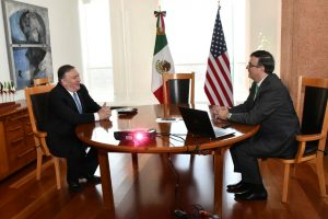 U.S Secretary of State Mike Pompeo speaks with Mexican Foreign Minister Marcelo Ebrard during a private meeting at the Foreign Ministry Building (SRE) in Mexico City, Mexico July 21, 2019. Mexico's Foreign Ministry /Handout via REUTERS