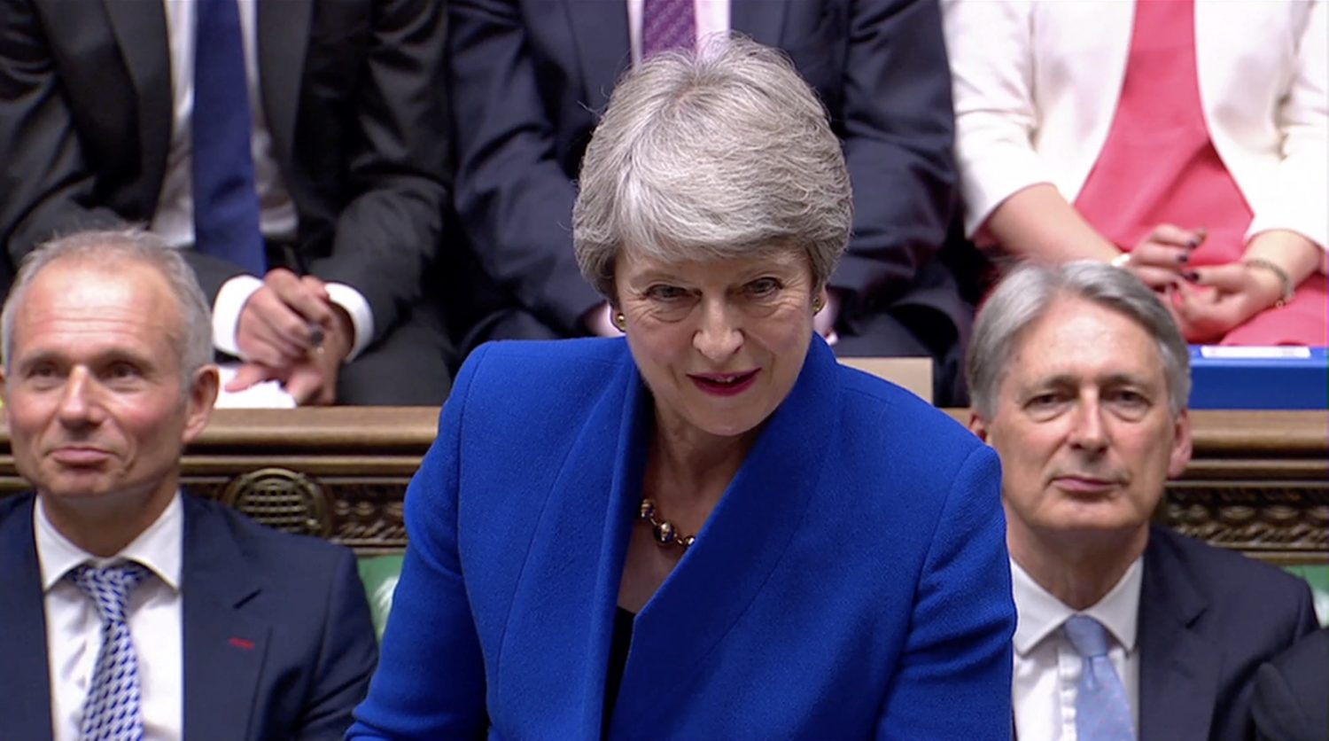 British Prime Minister Theresa May takes questions in Parliament on her last day in office as Prime Minister in London, Britain July 24, 2019, in this screen grab taken from video. Reuters TV via REUTERS?