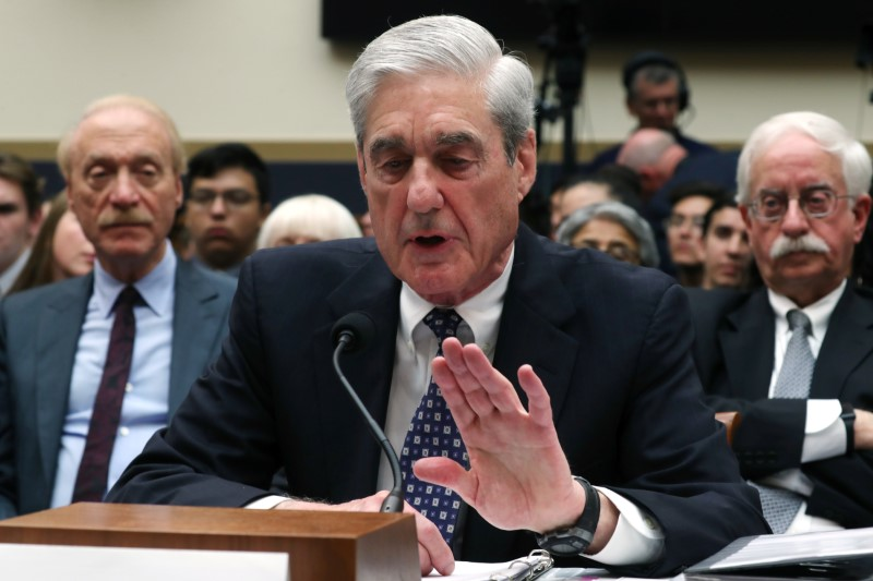 "Former Special Counsel Robert Mueller testifies before a House Judiciary Committee hearing on the Office of Special Counsel's investigation into Russian Interference in the 2016 Presidential Election"" on Capitol Hill in Washington, U.S., July 24, 2019. REUTERS/Jonathan Ernst"