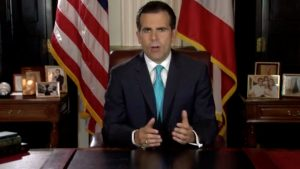 Puerto Rico Governor Ricardo Rossello speaks as he announces his resignation in San Juan, Puerto Rico, early July 25, 2019. La Forteleza de Puerto Rico/Handout via REUTERS ATTENTION EDITORS - THIS IMAGE HAS BEEN SUPPLIED BY A THIRD PARTY.