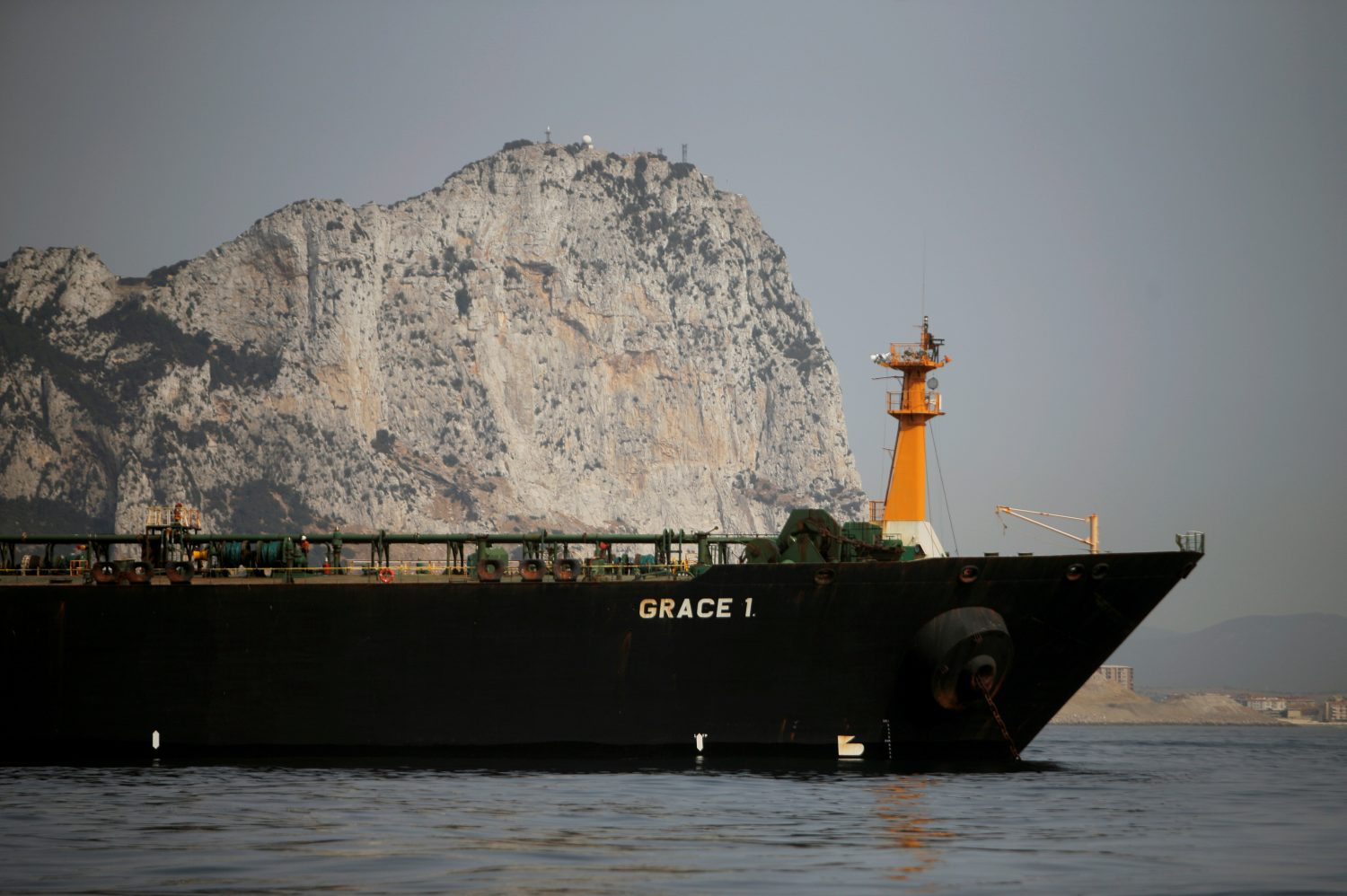 FILE PHOTO: Iranian oil tanker Grace 1 sits anchored after it was seized earlier this month by British Royal Marines off the coast of the British Mediterranean territory on suspicion of violating sanctions against Syria, in the Strait of Gibraltar, southern Spain July 20, 2019. REUTERS/Jon Nazca/File Photo