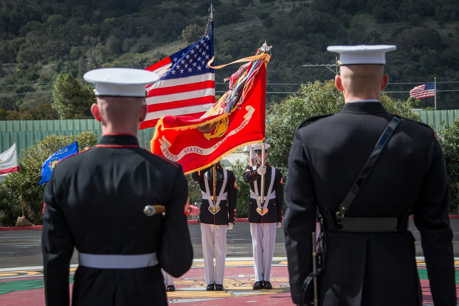 FILE PHOTO: The U.S. Marine Corps Color Guard Platoon during a ceremony at Marine Corps Base Camp Pendleton, California, U.S., March 15, 2018. Lance Cpl. Rhita Daniel/U.S. Marines/Handout via REUTERS