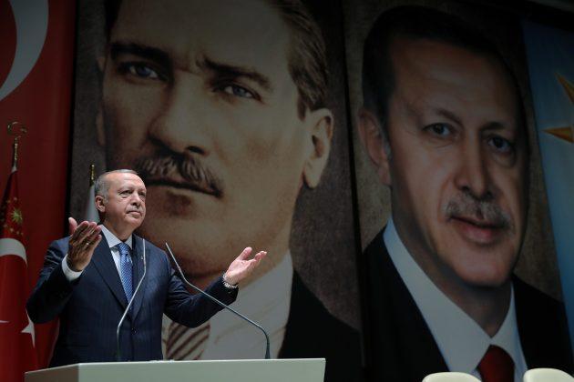 Turkish President Tayyip Erdogan speaks during a meeting of his ruling AK Party in Ankara, Turkey, July 26, 2019. Cem Oksuz/Presidential Press Office/Handout via REUTERS