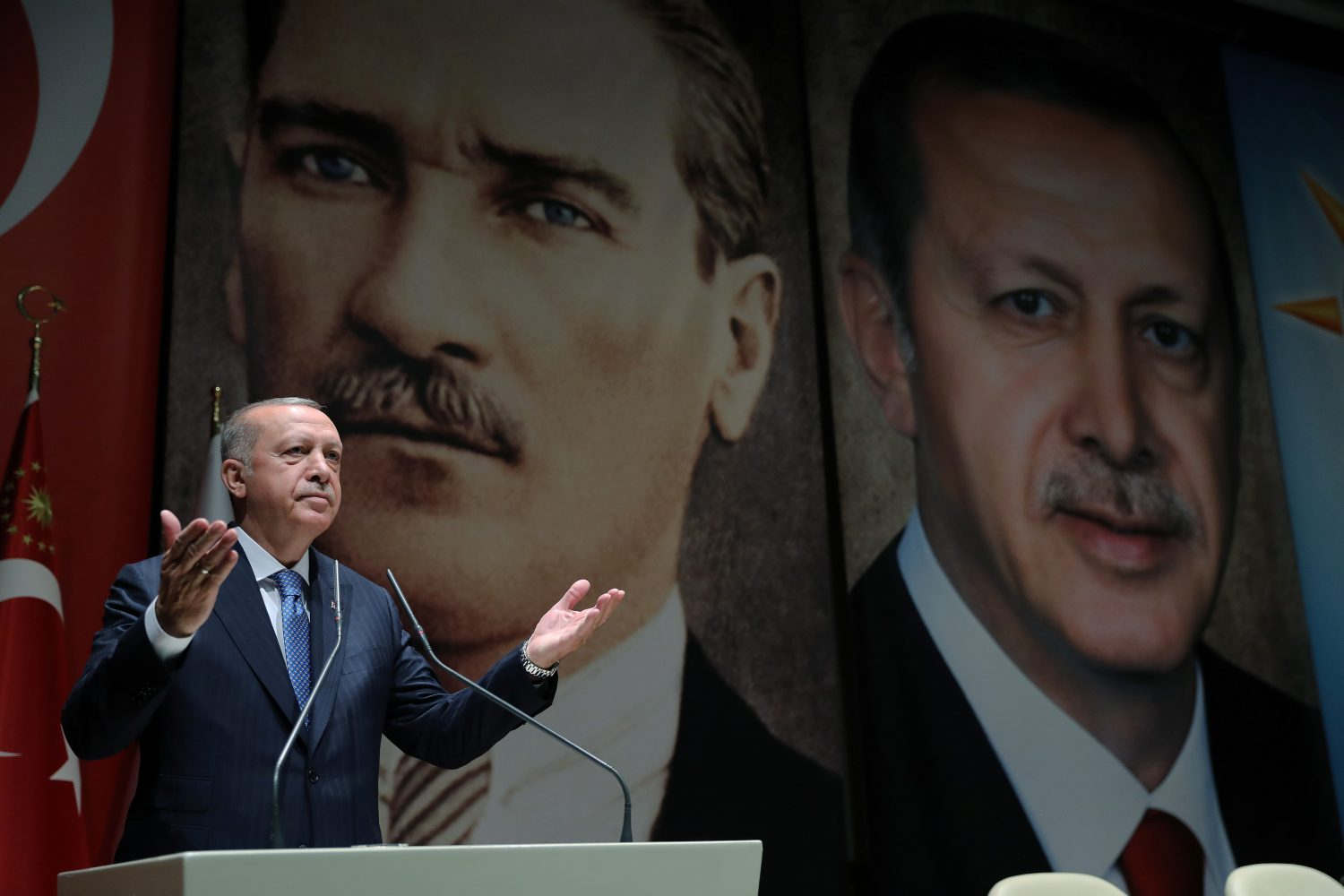 Turkish President Tayyip Erdogan speaks during a meeting of his ruling AK Party in Ankara, Turkey, July 26, 2019. Cem Oksuz/Presidential Press Office/Handout via REUTERS