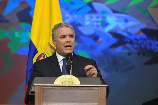 FILE PHOTO: Colombia's President Ivan Duque gives a speech during the swearing-in ceremony of a new Congress in Bogota, Colombia, July 20, 2019. Courtesy of Colombian Presidency/Handout via REUTERS