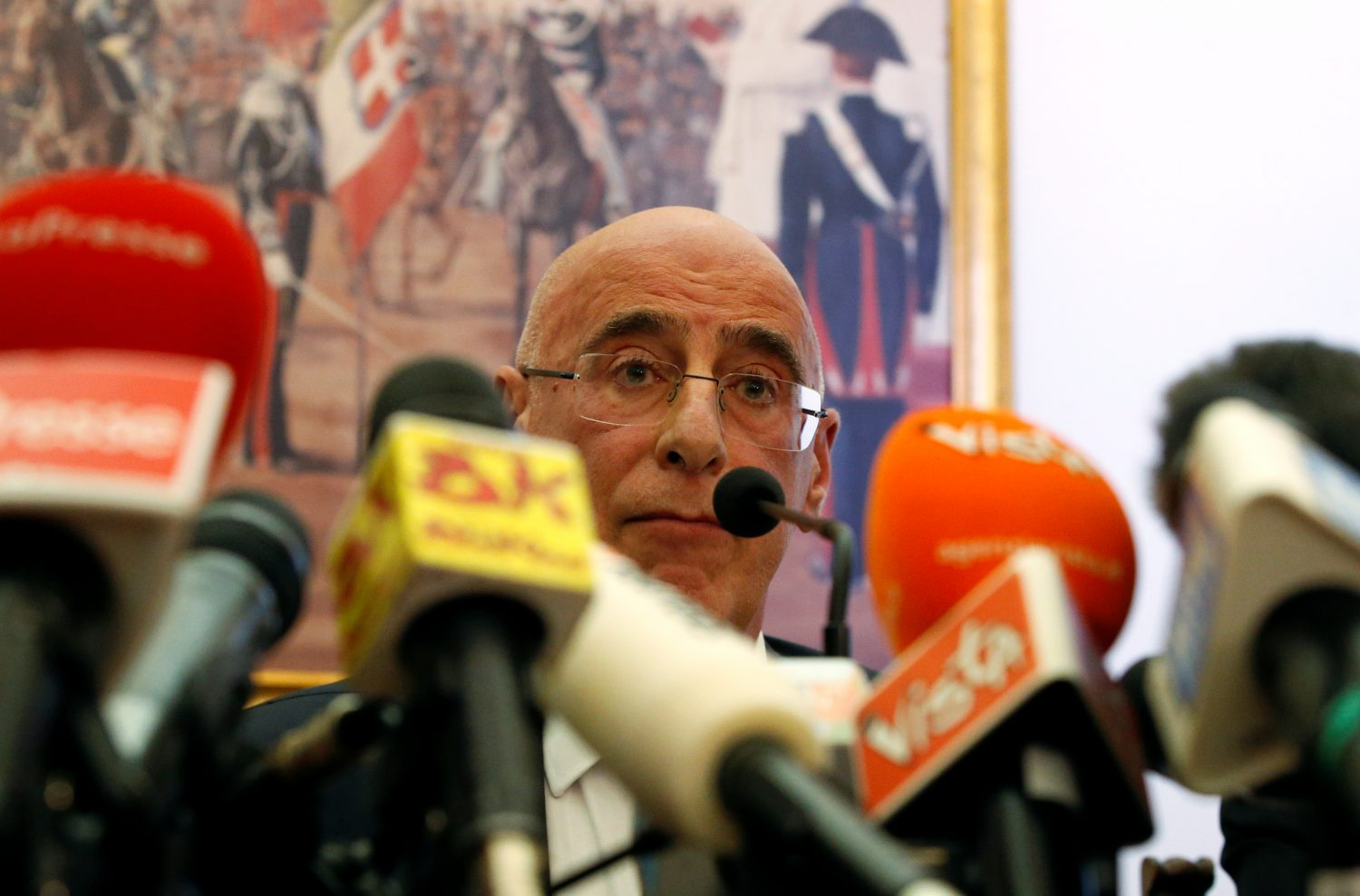 Regent Prosecutor Michele Prestipino attends a news conference after the killing of Carabinieri military police officer Mario Cerciello Rega in Rome, Italy July 30, 2019. REUTERS/Ciro De Luca