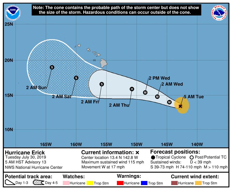 Hurricane Erick - NOAA track photograph