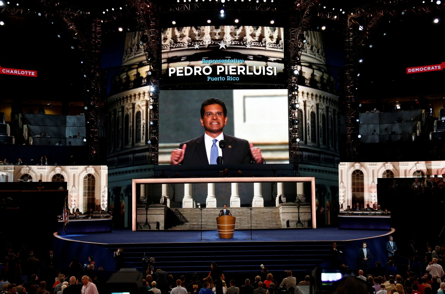 FILE PHOTO: Rep. Pedro R. Pierluisi (D-PR), addresses delegates during the second session of the Democratic National Convention in Charlotte, North Carolina, September 5, 2012. REUTERS/Jason Reed