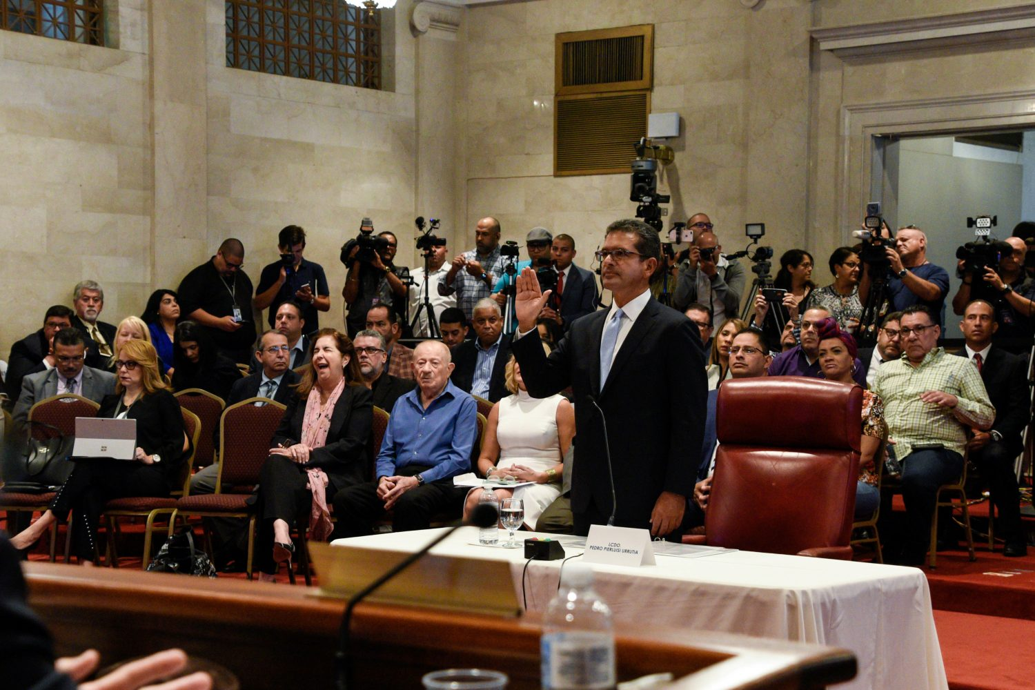 Pedro Pierluisi gives a statement to attend his nomination as Secretary of State during a public hearing of the Commission of Government of the House of Representatives called upon by the President of the House, Johnny Mendez, hours before Ricardo Rossello steps down as Governor of Puerto Rico, in San Juan, Puerto Rico August 2, 2019. REUTERS/Gabriella N. Baez