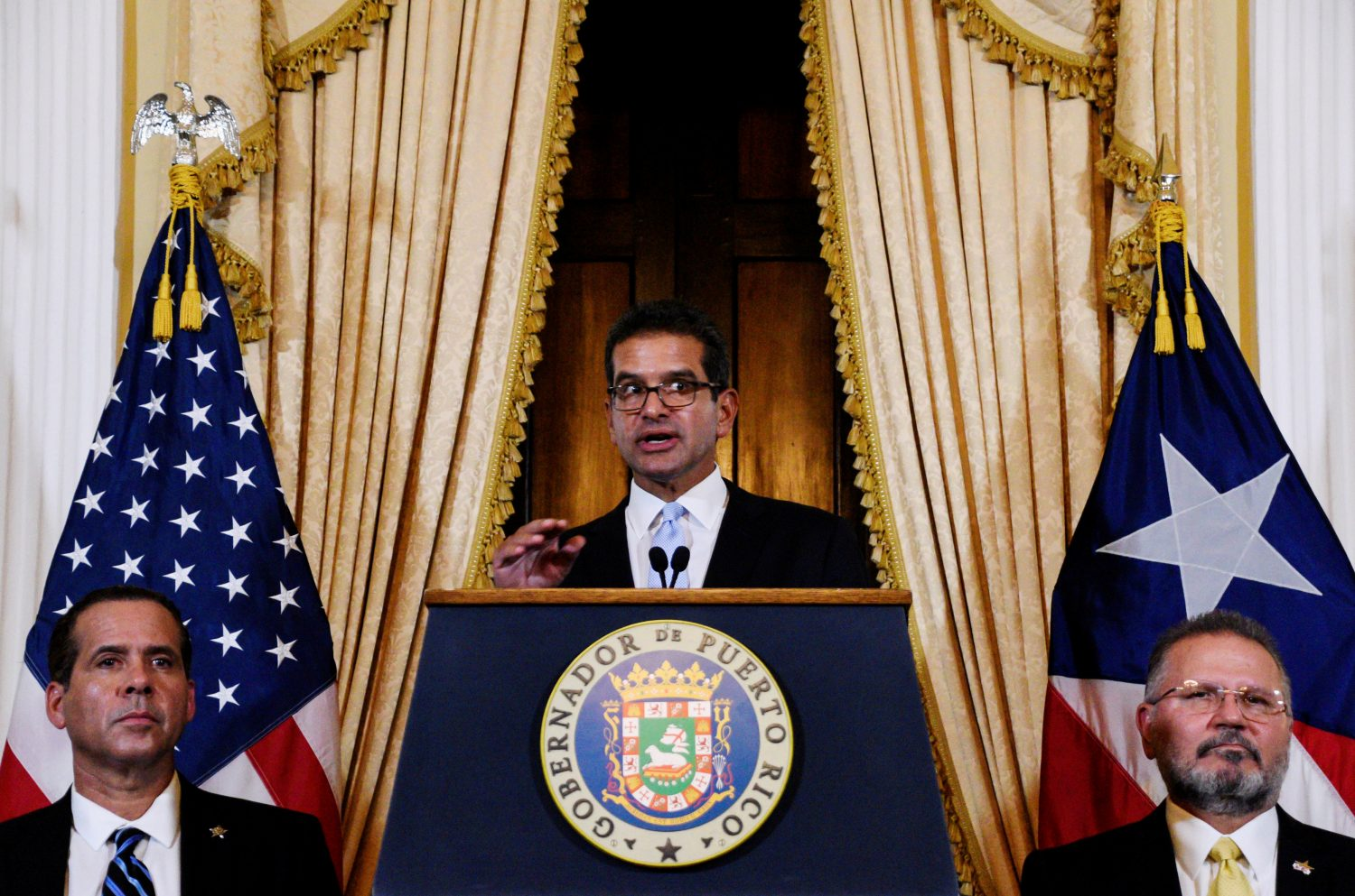FILE PHOTO: Pedro Pierluisi holds a news conference after swearing in as Governor of Puerto Rico in San Juan, Puerto Rico August 2, 2019. REUTERS/Gabriella N. Baez/File Photo