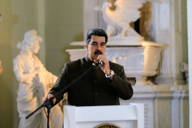 FILE PHOTO: Venezuela's President Nicolas Maduro speaks during a ceremony to commemorate the Bicentennial of the Battle in the Vargas Swamp at the National Pantheon in Caracas, Venezuela July 25, 2019. Miraflores Palace/Handout via REUTERS